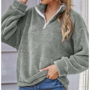 Gray Faux Fur Longsleeve Sweater 3/4 neckline